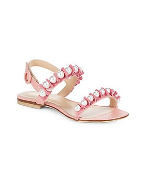 Image of Chic leather sandals elevated with faux pearl detail Grip-tape strap Leather upper Leather lining Rubber sole Made in Italy. Children's Wear - Children's Shoes. Aquazzura Mini. Color: Jaipur Pink. Size: 28 EU/ 11 US (Child).