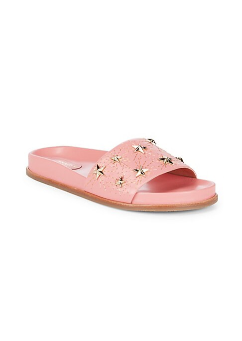 Image of Eye-catching stars add charm to these leather slides. Slip-on style. Leather upper. Leather lining. Rubber sole. Made in Italy.