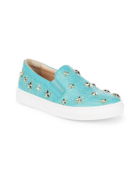 Image of Chic leather sneakers with gleaming metallic star embellishments. Leather upper. Slip-on style. Leather lining. Rubber sole. Made in Italy.