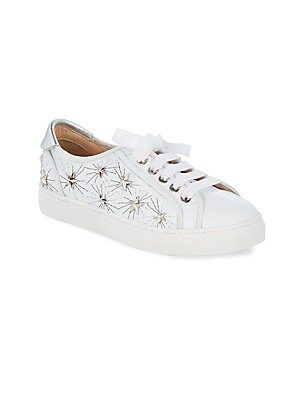 Image of Comfy leather sneakers accented with metallic stars Lace-up vamp Leather upper Leather lining Rubber sole Made in Italy. Children's Wear - Children's Shoes. Aquazzura Mini. Color: White. Size: 31 EU/ 13 US (Child).