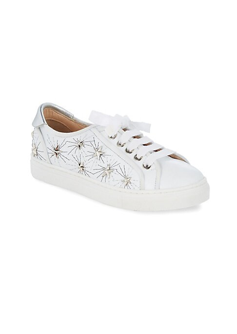 Image of Comfy leather sneakers accented with metallic stars. Lace-up vamp. Leather upper. Leather lining. Rubber sole. Made in Italy.
