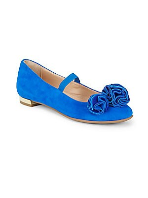 Image of Suede Mary Jane flats with floral appliques on toe Slip-on style Suede upper Leather lining Rubber sole Made in Italy. Children's Wear - Children's Shoes > Saks Fifth Avenue. Aquazzura Mini. Color: Hyacinth. Size: 31 EU/ 13 US (Child).