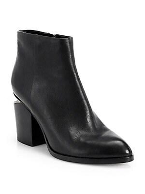 dcc2a4d2165 Alexander Wang - Gabi Leather Block Heel Booties - saks.com