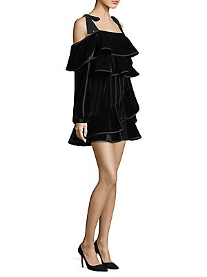"""Image of Luxe velvet dress with ruffle detailing Squareneck Cold-shoulder Long sleeves Exposed back zip About 34"""" from shoulder to hem Polyester/spandex Machine wash Made in USA Model shown is 5'10"""" (177cm) wearing size Small. Contemporary Sp - Trend. Petersyn. Co"""