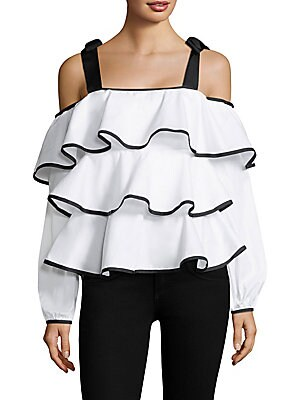 """Image of Cotton two-tone ruffle top with shoulder tie accents Cold-shoulder Squareneck Long sleeves Exposed back zip About 16"""" from shoulder to hem Cotton Machine wash Made in USA Model shown is 5'10"""" (177cm) wearing size Small. Contemporary Sp - Trend. Petersyn."""
