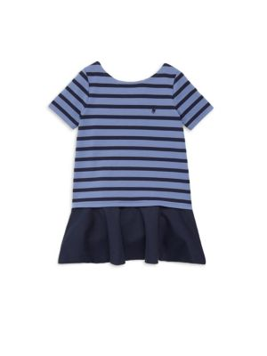 Image of With smooth ponte fabric and a twirl-ready skirt, this dress is perfect for school, recitals, and birthday parties. Ballet neckline. Short sleeves. Signature embroidered pony at the left chest. Ruffled skirt. Drop-waist silhouette. Polyester/viscose/elast