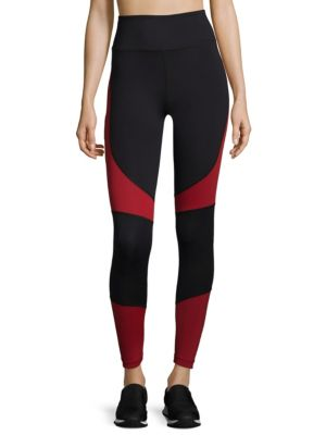 "Image of Colorblock leggings with chafe free seaming. Elasticized waist. Inner key pocket. Pull-on style. Rise, about 10"".Inseam, about 27"".Polyester/spandex. Machine wash. Imported. Model shown is 5'10"" (177cm) and wearing US size Small."