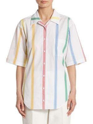 Cuban Cotton Poplin Polo Shirt, Multi