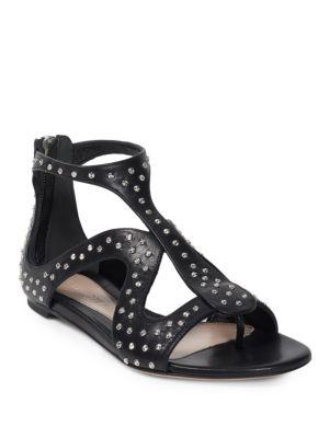Flache Sandalen Mit Käfig-Silhouette Und Gehämmerten Nieten in Black