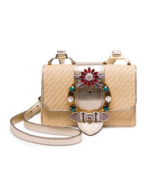 Miu Miu  Embellished Straw and Leather Crossbody Bag