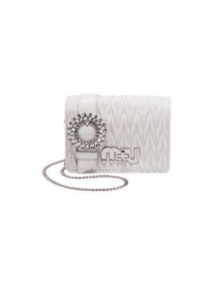 Crystal Matelasse Leather Mini Crossbody Bag, Orchidea