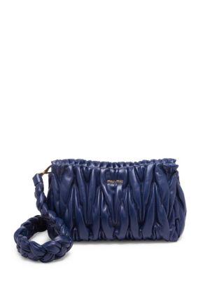 Miu Miu  Smocked Leather Shoulder Bag