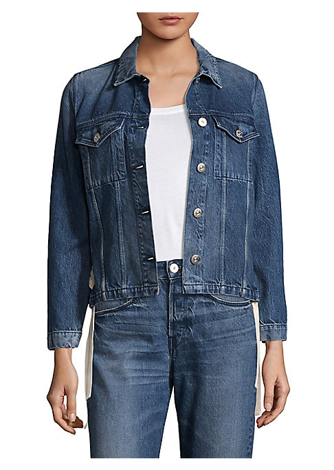 """Image of Cotton denim jacket in button-front style. Fold-over collar. Short sleeves. Front flap button pockets. Button front. About 23"""" from shoulder to hem. Cotton. Machine wash. Made in Italy. Model shown is 5'10"""" (177cm) wearing size Small."""