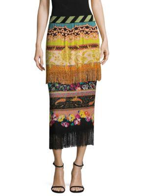 Etro Knits Knit Fringe Printed Skirt