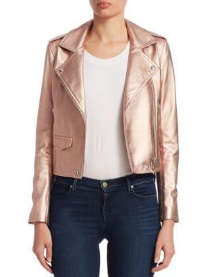 Ashville Cropped Metallic Leather Jacket in Rose Gold