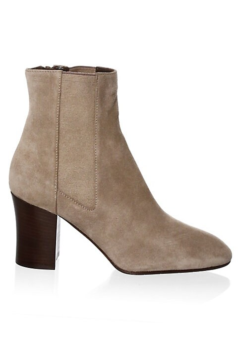 "Image of Chic suede booties featuring side zip detail. Stacked heel, 3"" (75mm).Suede upper. Round toe. Side zip closure. Rubber sole. Made in Italy."