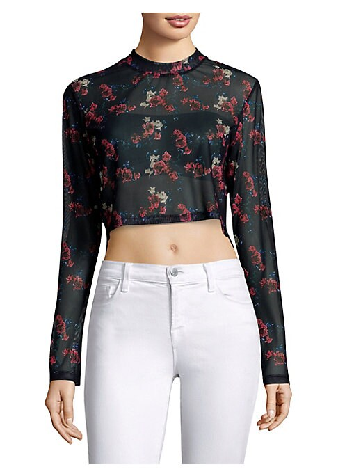 """Image of Colorful floral printed top in semi-sheer design. Crewneck. Long sleeves. Pullover style. About 16"""" from shoulder to hem. Polyester/lycra. Machine wash. Made in USA. Model shown is 5'10"""" (177cm) wearing size Small."""