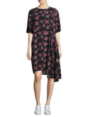 Rima Crewneck Half-Sleeve Floral-Print Dress, Flower Print