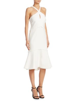 Dante Sleeveless Halter Mermaid Midi Dress, Ivory