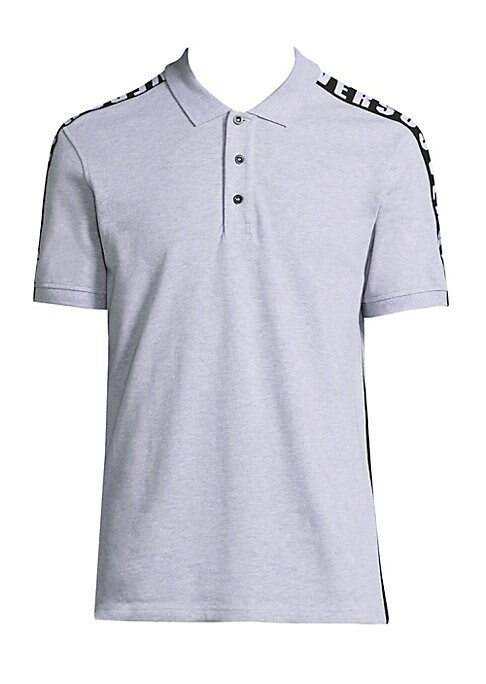 "Image of Cotton polo elevated with contrasting sides. Polo collar. Short sleeves. Rib-knit cuffs. Three-button placket. About 27"" from shoulder to hem. Cotton. Machine wash. Imported."