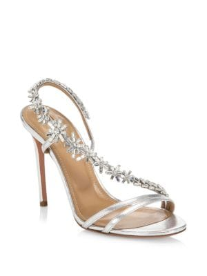 """Image of Leather sandals with crystal embellishments on strap. Stiletto heel, 4.13"""" (105mm).Leather upper. Open toe. Slip-on style. Leather lining and sole. Padded insole. Made in Italy."""