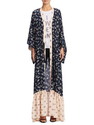 Mariana Floral-Print Silk Cardigan Duster, Navy Pearl Blush Multi