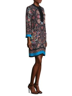 "Image of Bright stripe trims effortless paisley tunic. Roundneck. Three-quarter length sleeves. Button front. Relaxed fit. About 35"" from shoulder to hem. Silk/viscose. Dry clean. Made in Italy. Model shown is 5'10"" (177cm) wearing US size 4."