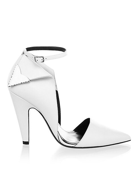 """Image of Pumps updated with side metallic details. Cone heel, 4.13"""" (105mm).Leather upper. Point toe. Adjustable ankle strap. Leather lining and sole. Made in Italy."""