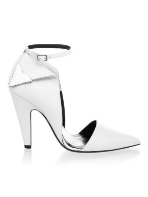 "Image of Pumps updated with side metallic details. Cone heel, 4.13"" (105mm).Leather upper. Point toe. Adjustable ankle strap. Leather lining and sole. Made in Italy."