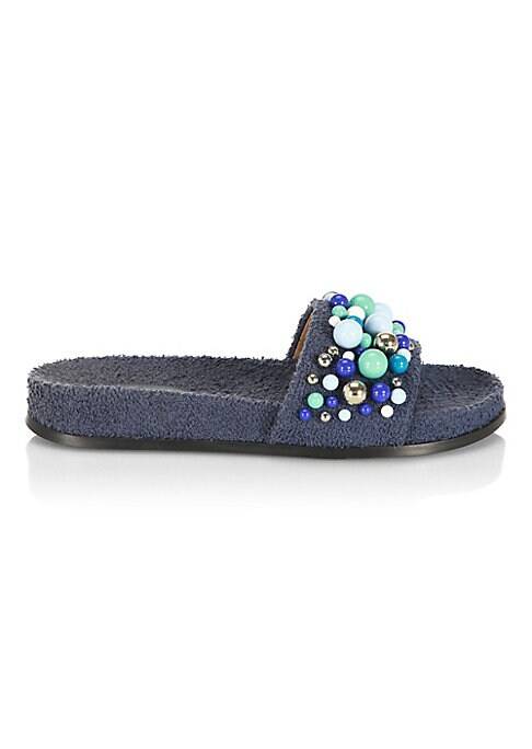 Image of Chic pool slides with multicolored studs on front. Cotton and polyester upper. Plastic trim. Open toe. Cotton and polyester lining. Rubber sole. Made in Italy.