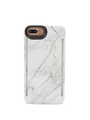 LUMEE Duo Led Lighting White Marble Iphone Iphone 6 Plus, 7 Plus, 8 Plus Case