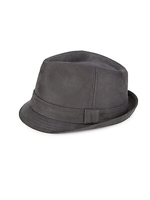 """Image of Classic fedora finished in soft suede. Banded accent Suede Imported SIZE Width, about 7"""". Men Accessories - Cold Weather Accessories. Block Headwear. Color: Grey. Size: Large/XL."""