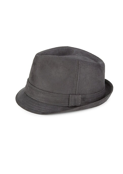 """Image of Classic fedora finished in soft suede. Banded accent. Suede. Imported. SIZE. Width, about 7""""."""