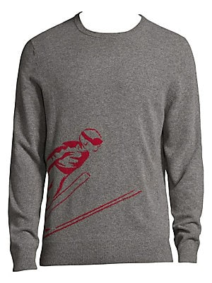 """Image of Casual wool-blend sweatshirt featuring graphic design Crewneck Long sleeves Rib-knit cuffs and hem Pullover style About 27"""" from shoulder to hem Merino wool/nylon Dry clean Imported. Men Adv Contemp - Contemporary Tops. Bonobos. Color: Mid Grey. Size: Lar"""