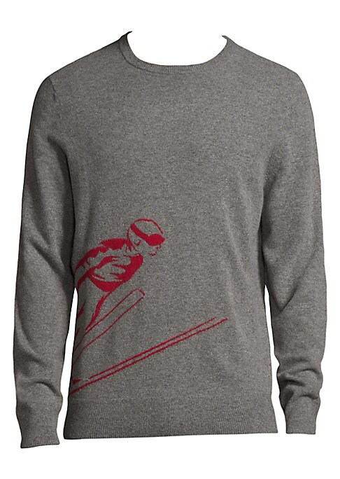 "Image of Casual wool-blend sweatshirt featuring graphic design. Crewneck. Long sleeves. Rib-knit cuffs and hem. Pullover style. About 27"" from shoulder to hem. Merino wool/nylon. Dry clean. Imported."