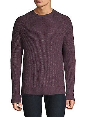Image of Casual cashmere-blend sweater featuring ribbed design Ribbed crewneck Long sleeves Rib-knit at cuffs and hem Pullover style About 28 from shoulder to hem Cashmere/wool Hand wash Imported. Men Adv Contemp - Contemporary Tops > Saks Fifth Avenue. Bonobos. C