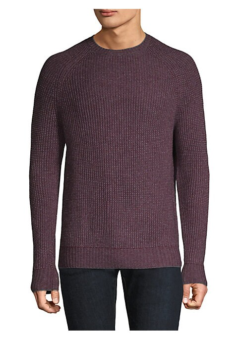 "Image of Casual cashmere-blend sweater featuring ribbed design. Ribbed crewneck. Long sleeves. Rib-knit at cuffs and hem. Pullover style. About 28"" from shoulder to hem. Cashmere/wool. Hand wash. Imported."