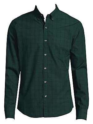 Image of Classic check pattern adorns cotton button-down shirt Button-down point collar Long sleeves Buttoned barrel cuffs Button front Shirttail hem Cotton Machine wash Imported. Men Adv Contemp - Contemporary Tops. Bonobos. Color: Green Cobb. Size: XXL.