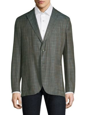 """Image of Elevate your casual look with this patterned sportcoat. Notch lapels. Long sleeves. Button front. Chest welt pocket. Side patch pockets. Dual back vents. Regular-fit. Lined. About 30"""" from shoulder to hem. Bamboo fiber. Dry clean. Made in Italy."""