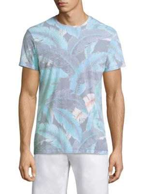 """Image of Muted tropical print tee beckons warm temperatures. Roundneck. Short sleeves. Pullover style. About 28"""" from shoulder to hem. Viscose/polyester. Machine wash. Made in USA."""