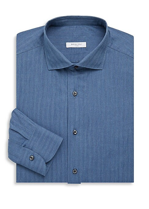 """Image of Cotton dress shirt with an allover linear design. Spread collar. Long sleeves. Buttoned barrel cuffs. Button front. Regular-fit. About 29"""" from shoulder to hem. Cotton. Dry clean. Made in Italy."""