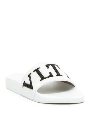 Vltn Crystal-Embellished Pool Slide Sandal, Black