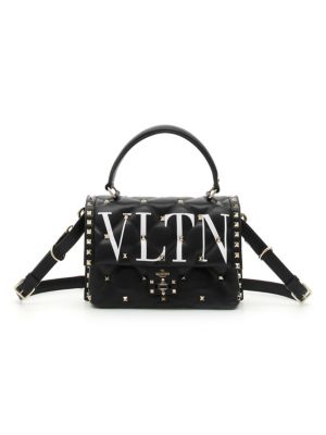 Vltn Spike Medium Top-Handle Shoulder Bag in Black