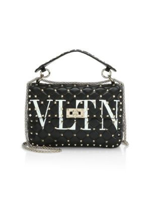 Vltn Logo Candystud Lambskin Top Handle Satchel - White