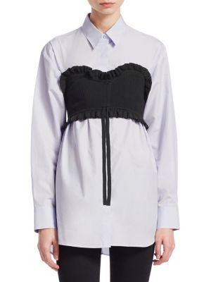 Cotton-Poplin Bustier Shirt, Black