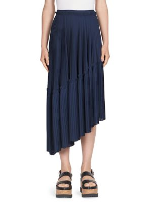 Asymmetric Accordion Pleated Skirt, Navy Blue