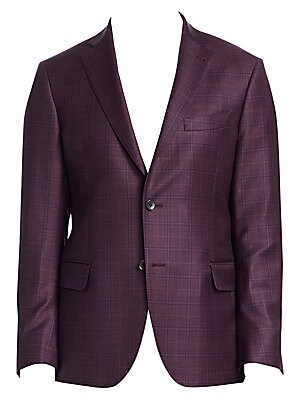 """Image of From the Saks IT LIST THE JACKET The wear everywhere layer that instantly dresses you up. ONLY AT SAKS Windowpane checks pattern sleek wool jacket Notch collar Long sleeves Button front Button cuffs Chest welt pocket Waist flap pockets About 28"""" from shou"""
