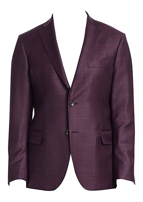 Image of From the Saks IT LIST. THE JACKET. The wear everywhere layer that instantly dresses you up. EXCLUSIVELY OURS. Windowpane checks pattern sleek wool jacket. Notch collar. Long sleeves. Button front. Button cuffs. Chest welt pocket. Waist flap pockets. About