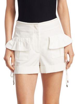 High-Rise Poplin Ruffle Shorts in White