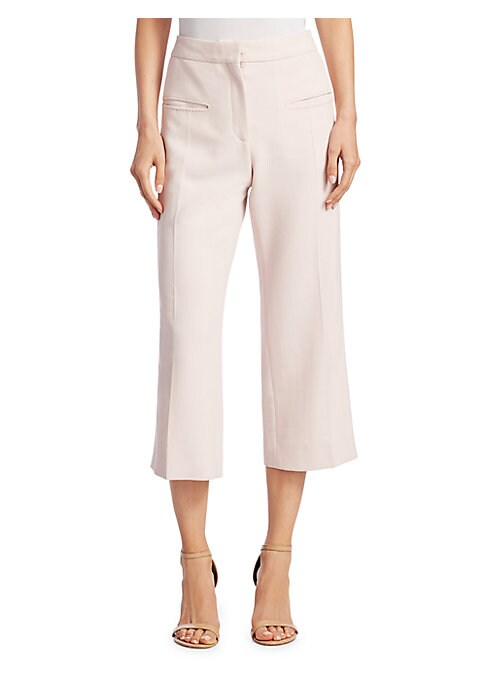 "Image of Chic high-rise pants with statement pocket details. High-rise banded waist. Zip fly with hook and eye closure. Front welt pockets. Flap pockets at rear. Rise, about 9."".Inseam, about 26"".Viscose/wool/elastane. Dry clean. Imported. Model shown is 5'10"" (17"
